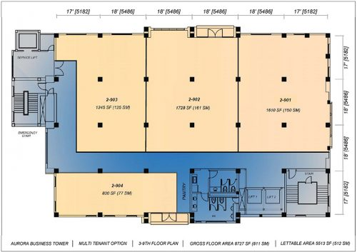 3rd-9th Floor Plan